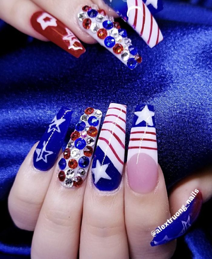 long coffin nails 4th of july nail art white red blue nail polish stripes stars and rhinestones