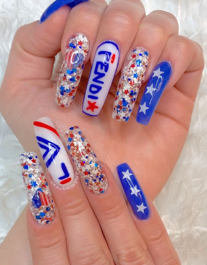 long coffin nails fourth of july nail designs stars and heart shaped american flag fendi written on middle finger