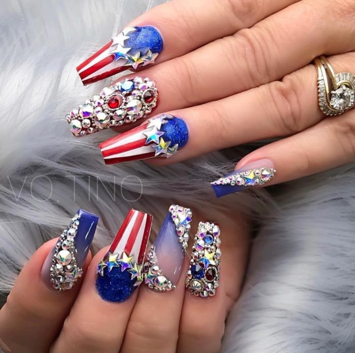 long coffin nails with lots of rhinestones 4th of july nail ideas american flag decorations with stars