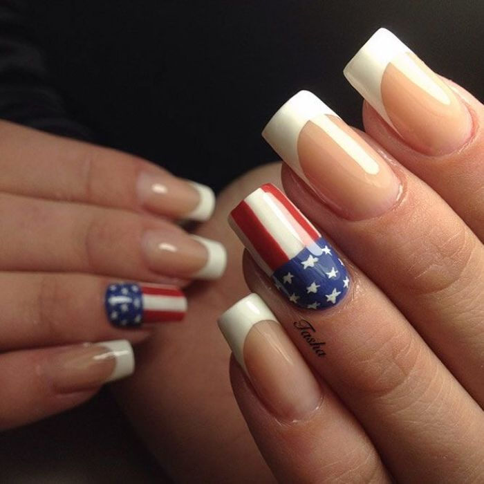 long nails with white french manicure fourth of july nails american flag decoration on each ring finger