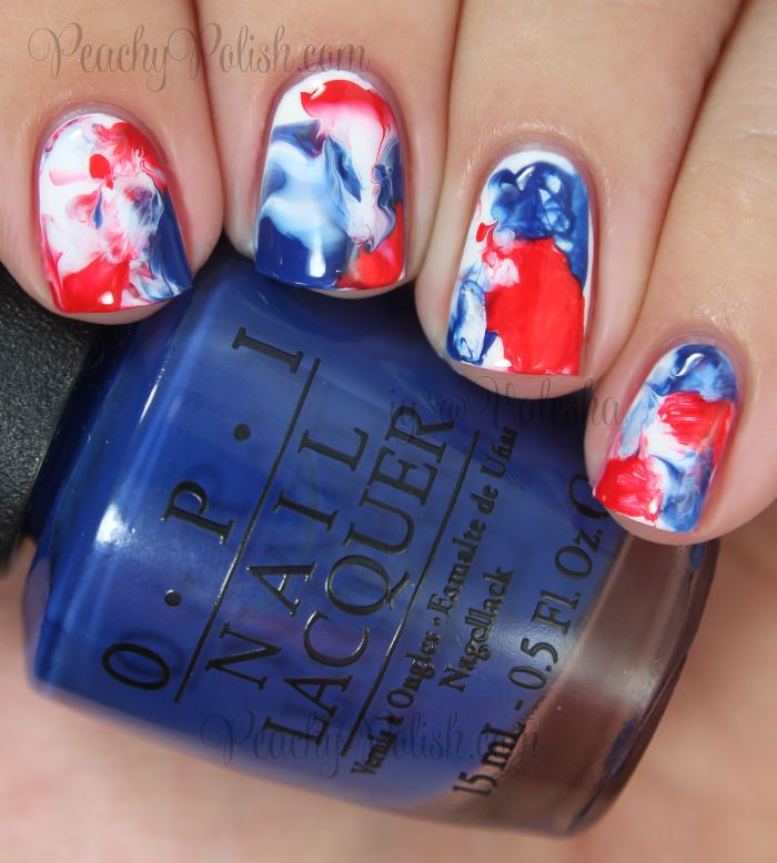 marble 4th of july nails white nail polish base red and blue marble on short squoval nails