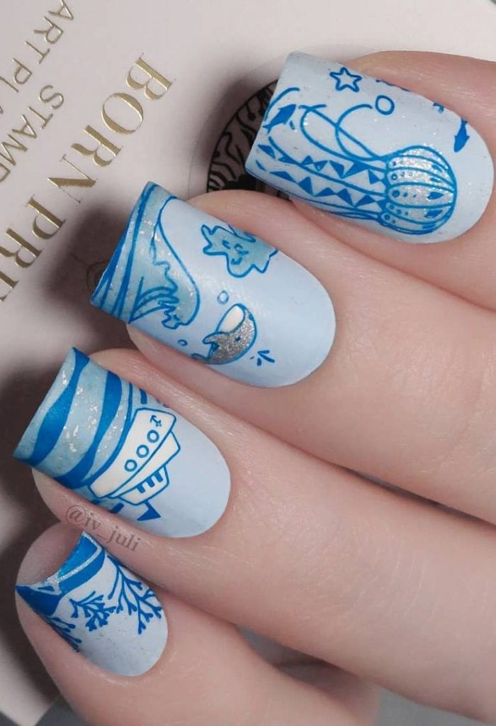 maritime decorations on medium length square nails summer nail colors waves whale boat