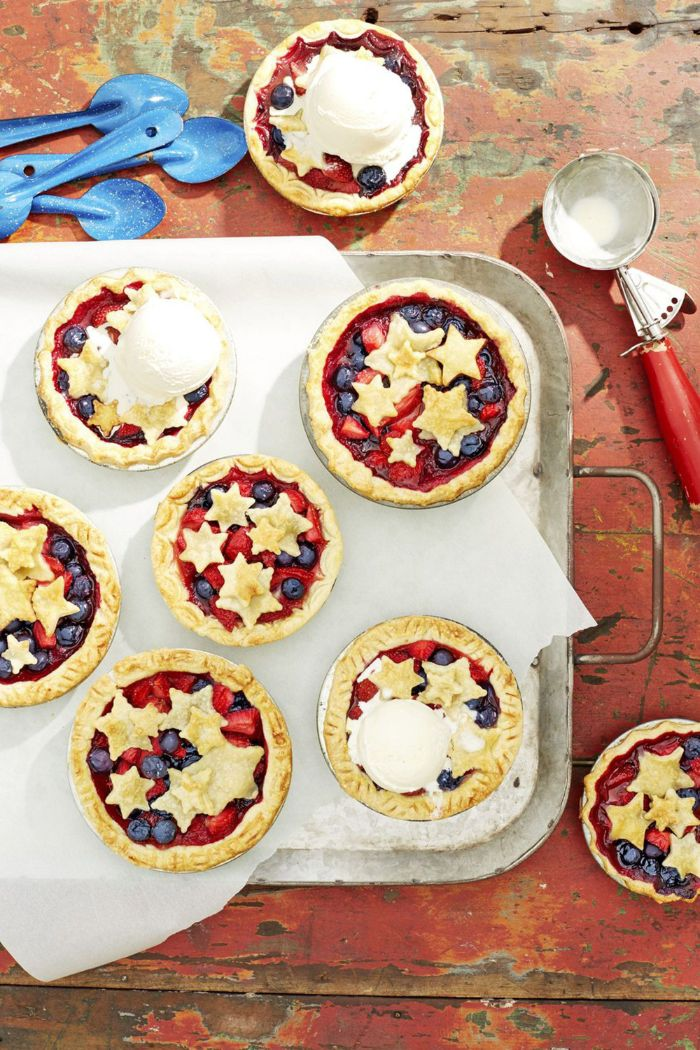 mini pies with strawberries and blueberries 4th of july recipes stars made of dough
