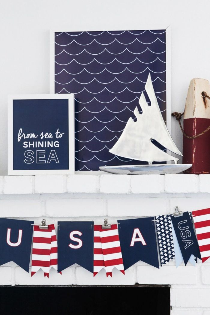 nautical theme fourth of july crafts fireplace decorations usa banner in red white and blue