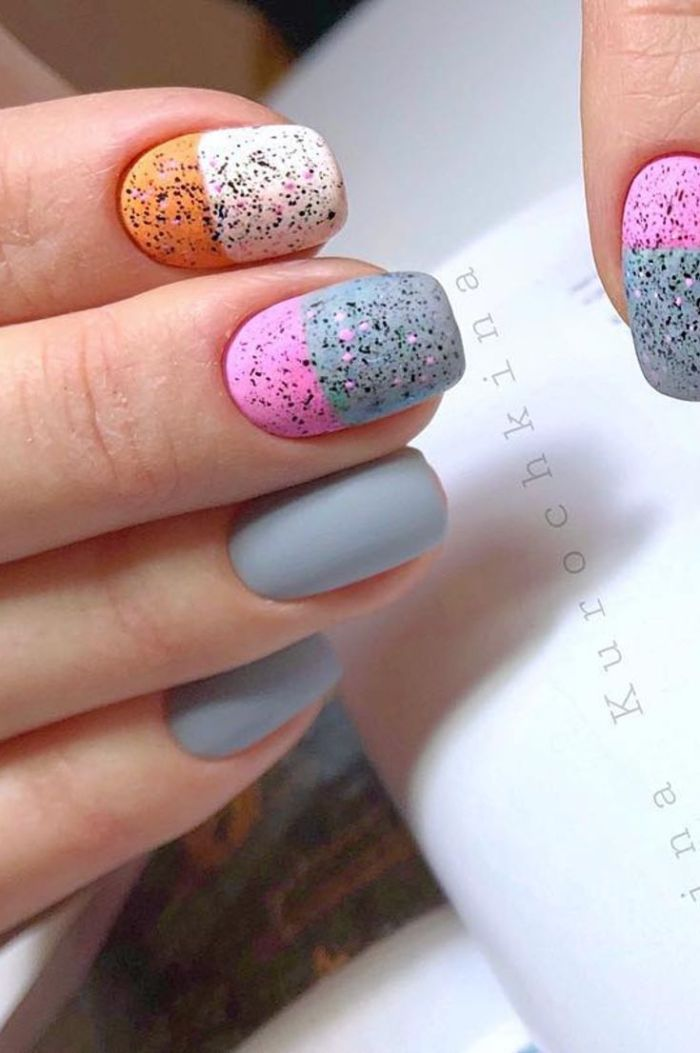 ombre nail polish in blue pink white gold with matte finish nail designs 2021
