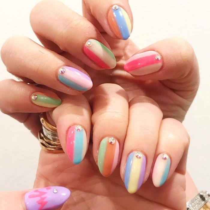 ombre nails summer acrylic nails pink blue orange green yellow nail polish with rhinestones
