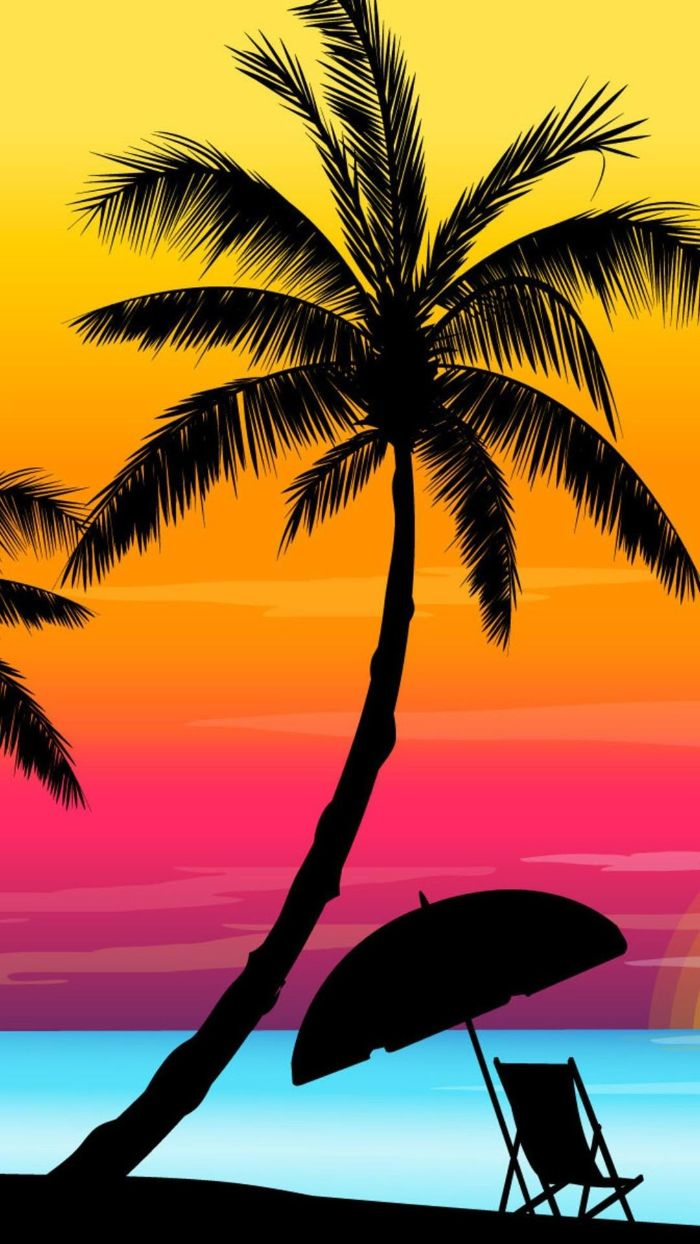 palm tree over an umbrella and lounge chair cute summer backgrounds drawing