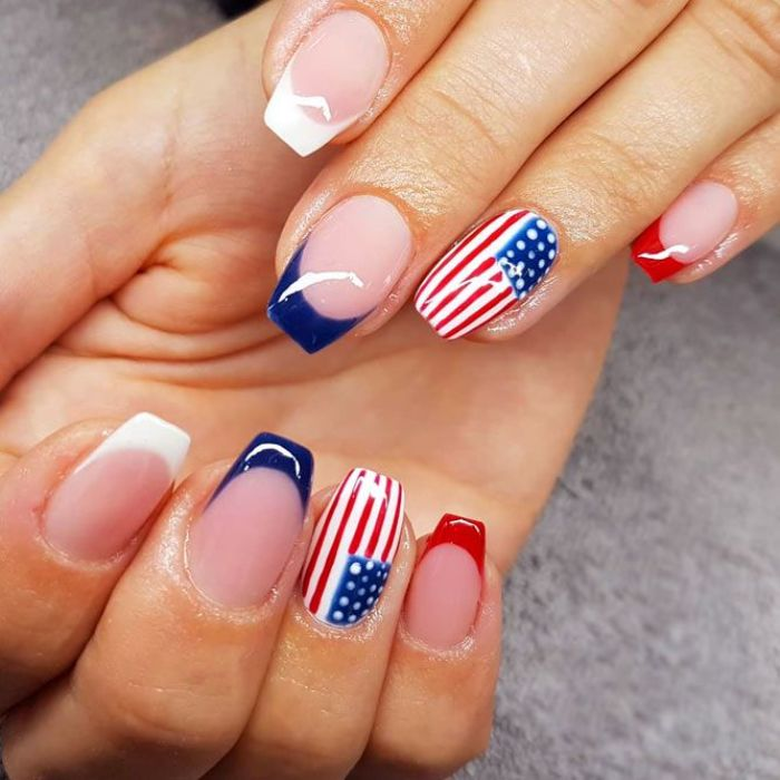 patriotic french manicure fourth of july nails red white blue french american flag decoration on each ring finger