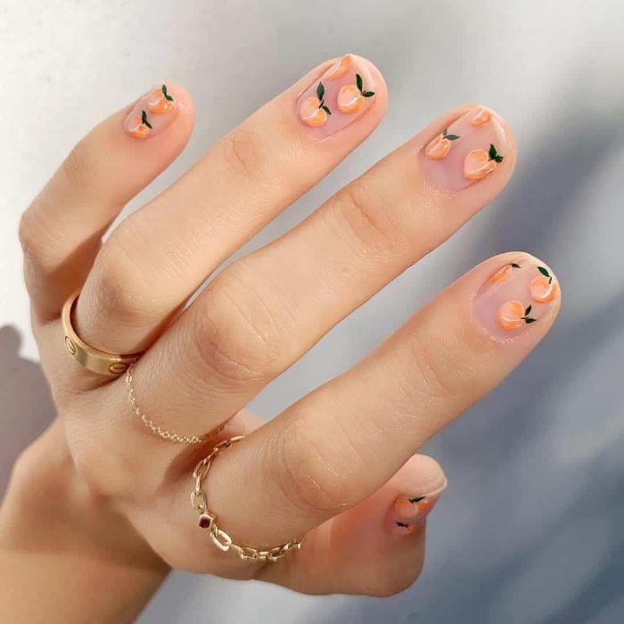 peaches decorations on short nails summer acrylic nails nude nail polish