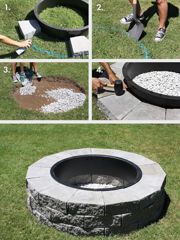 photo collage of step by step tutorial build your own fire pit round fire pit with stones