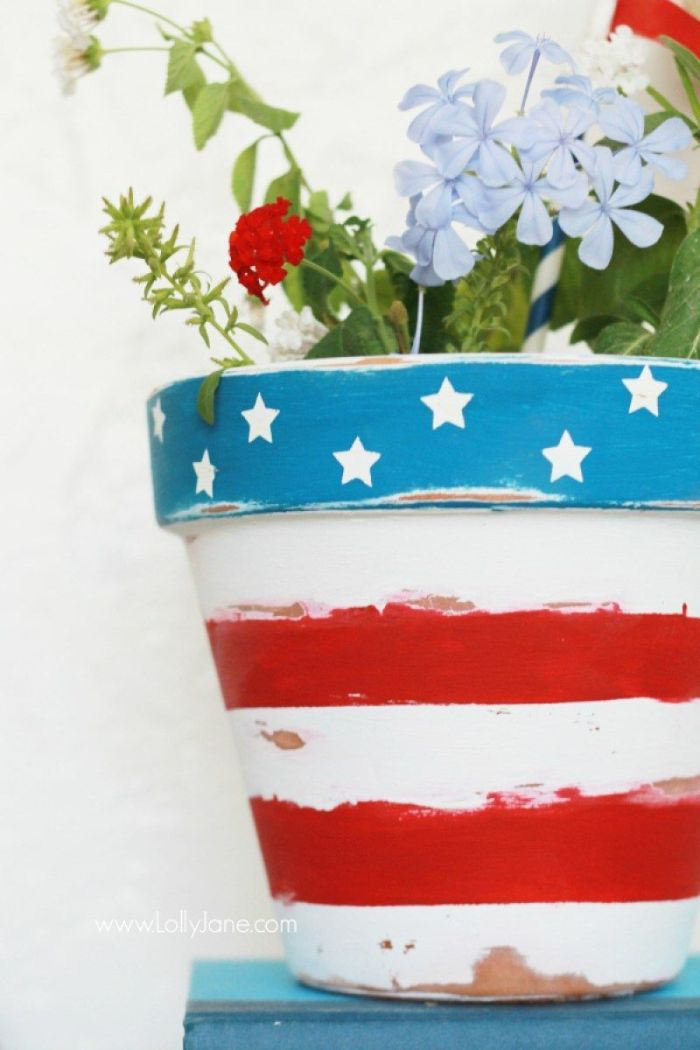 planter painted with red white stripes stars on blue background 4th of july crafts red white blue flowers