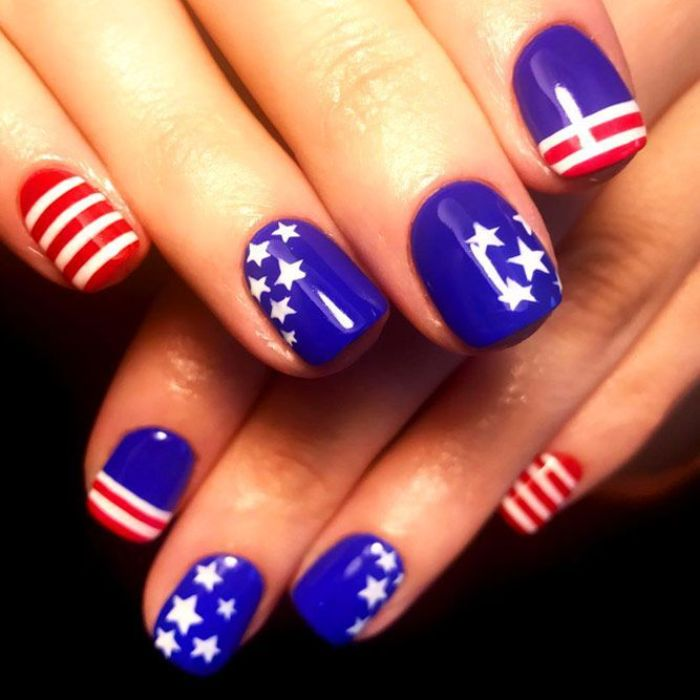 red and blue nail polish red white and blue nails stars and stripes decorations on each nail