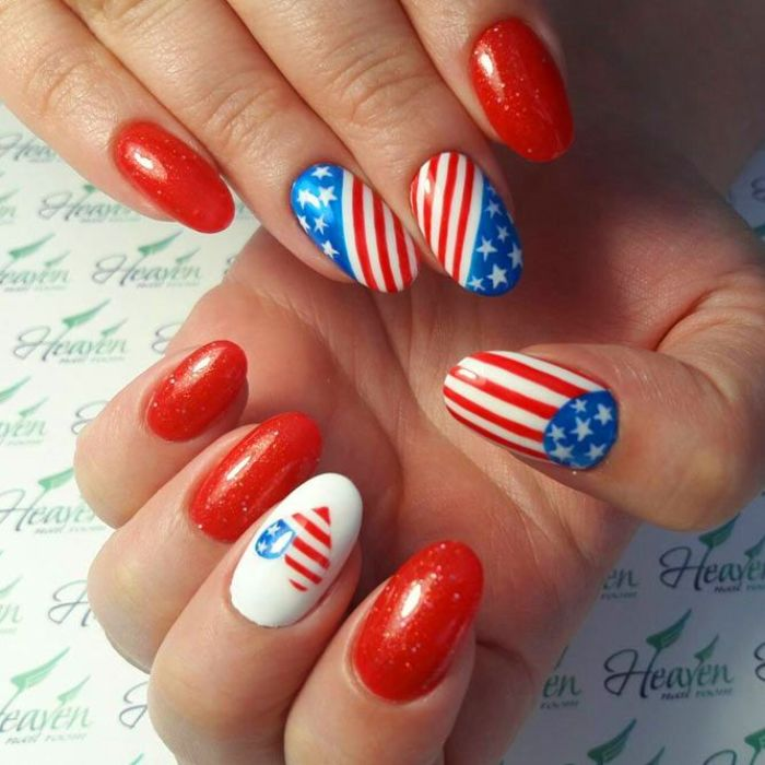 red glitter nail polish fourth of july nails american flag decorations stripes stars in the shape of heart