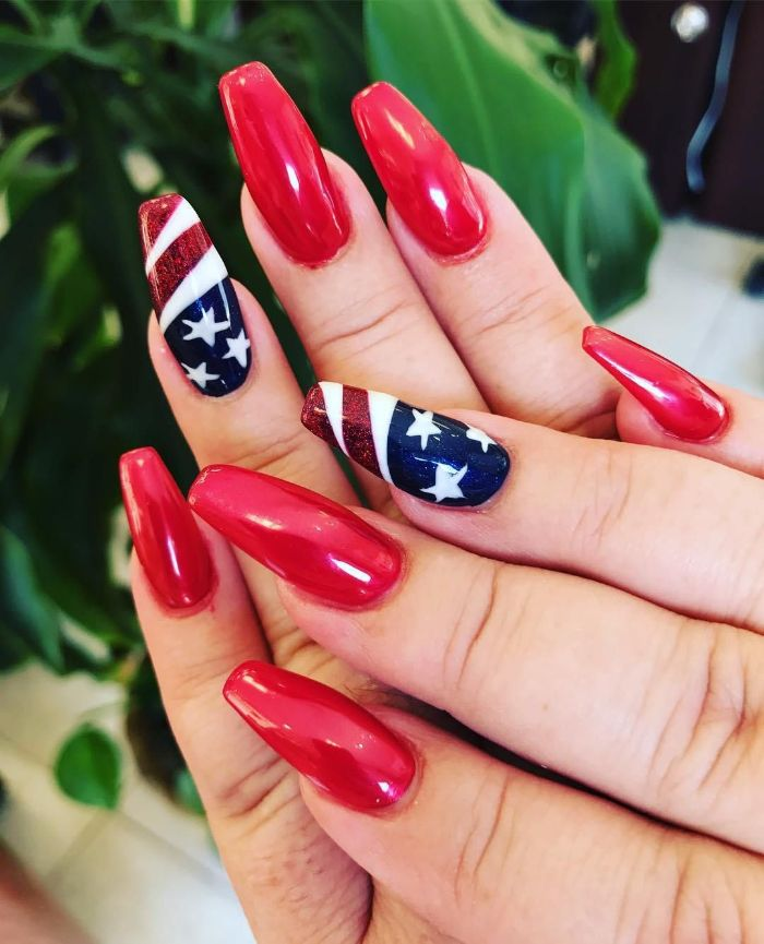 red nail polish on long coffin nails fourth of july nail designs american flag decoration on each ring finger