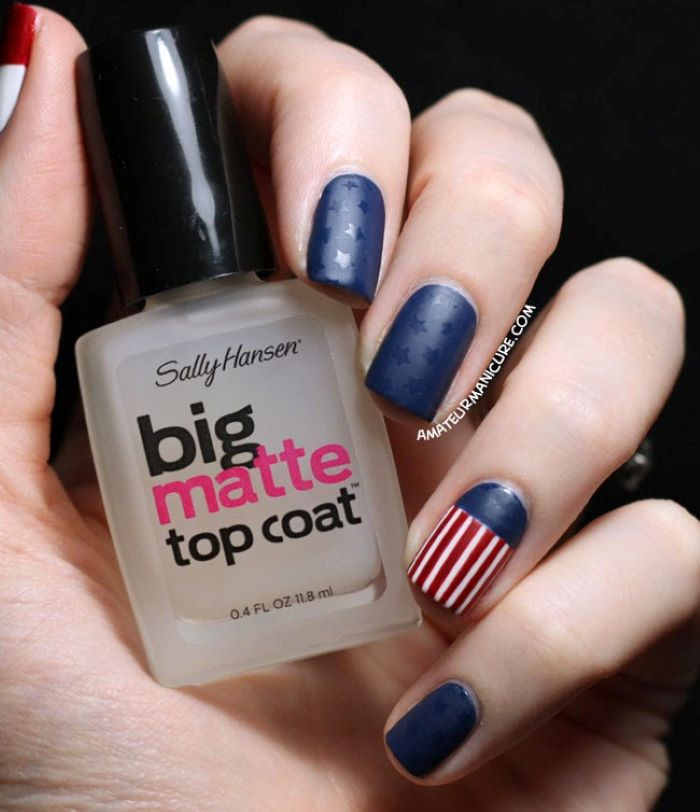 red white and blue nail designs with matte finish stars and stripes decorations