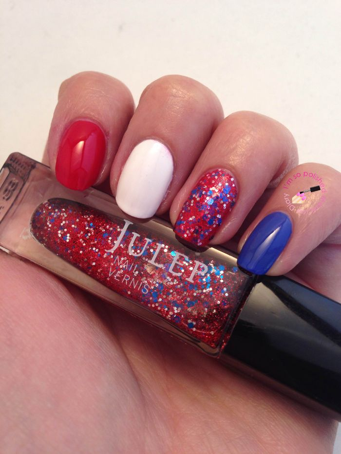 red white and blue nail polish 4th of july nails red white and blue glitter