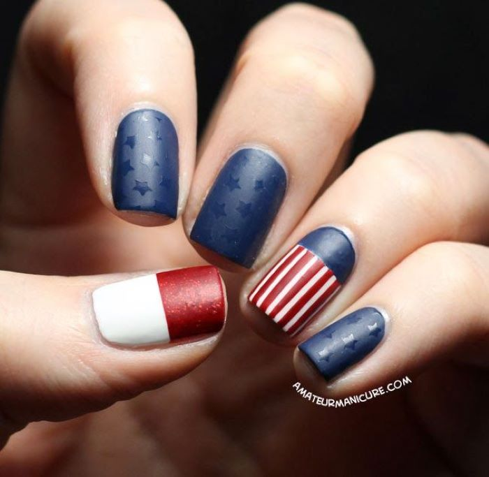 red white and blue nail polish with matte finish american flag nails stars and stripes decorations