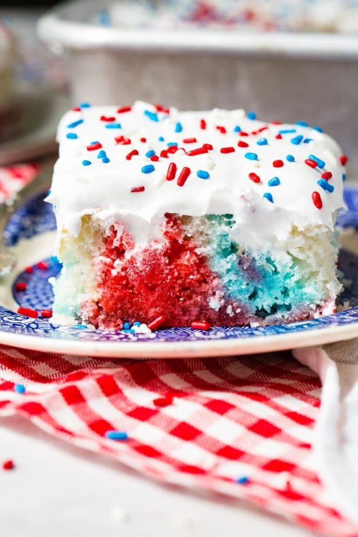 red white and blue poke cake fourth of july recipes white frosting red white blue sprinkles