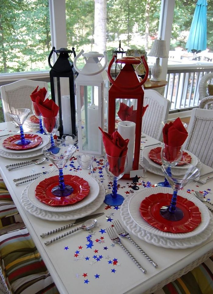 red white blue lanterns in the middle of table 4th of july decorations white red plates red napkins blue glasses