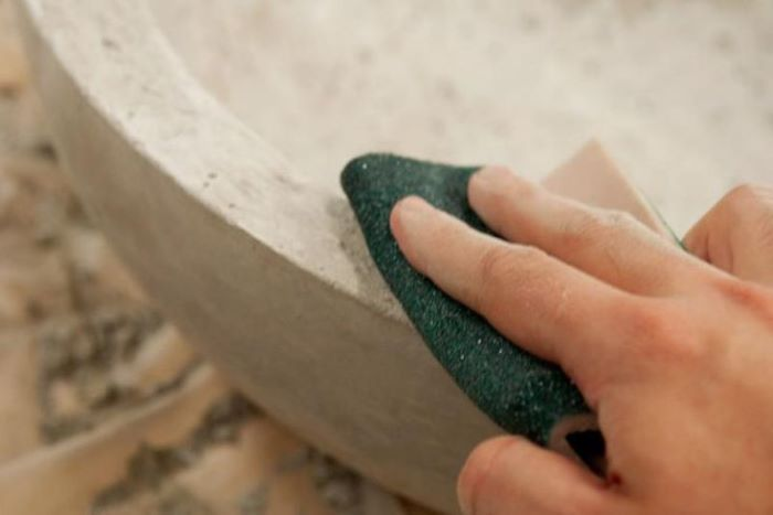 sanding the concrete bowl step by step diy tutorial backyard fire pit ideas landscaping