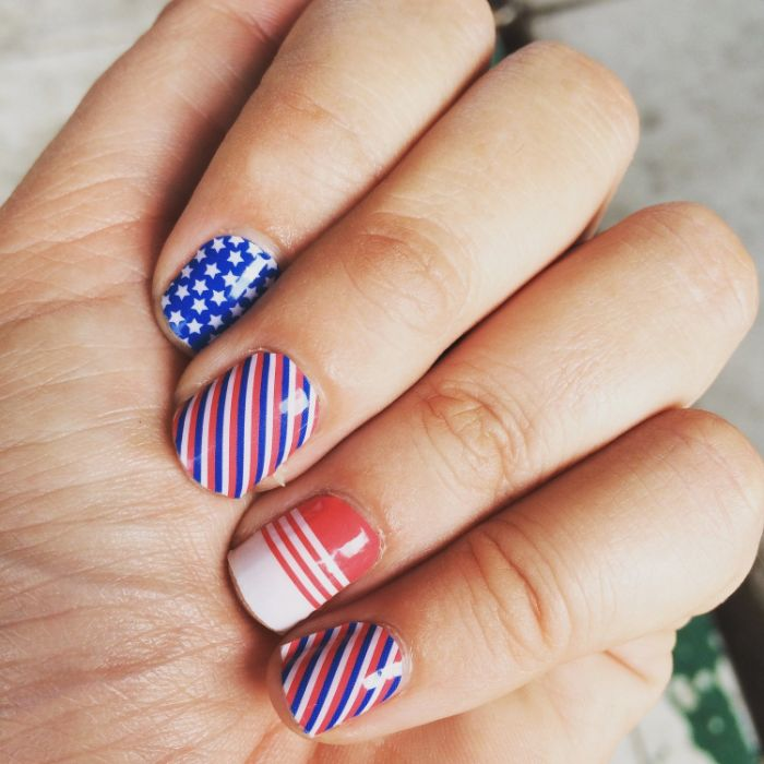 short nails with red white blue nail polish 4th of july nail art stars and stripes decorations