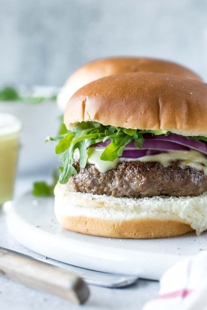 spiced lamb patty how long to cook burgers melted cheese onions arugula
