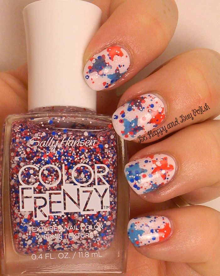stars in blue and red 4th of july nail ideas covered with red white blue glitter