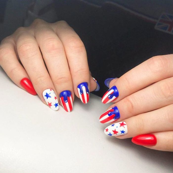 stars in red and blue stripes in red white fourth of july nails blue dripping down red nail nail polish