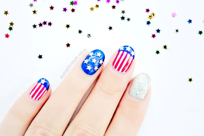 step by step diy tutorial american flag nails done with red white and blue nail polish stars and stripes decorations