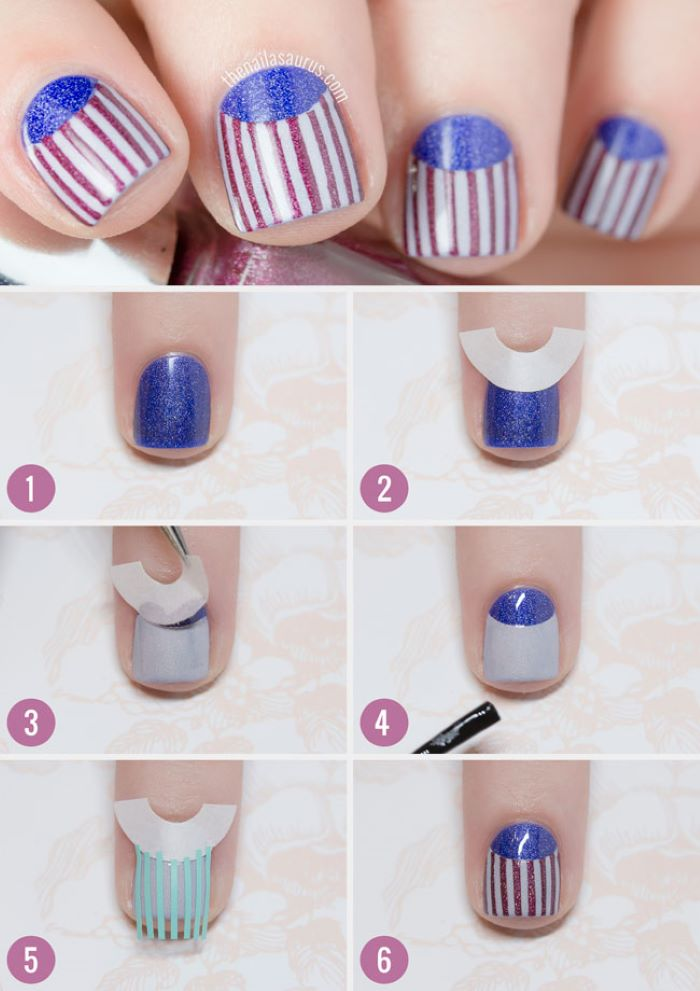 step by step diy tutorial red white and blue nail designs with red stripes