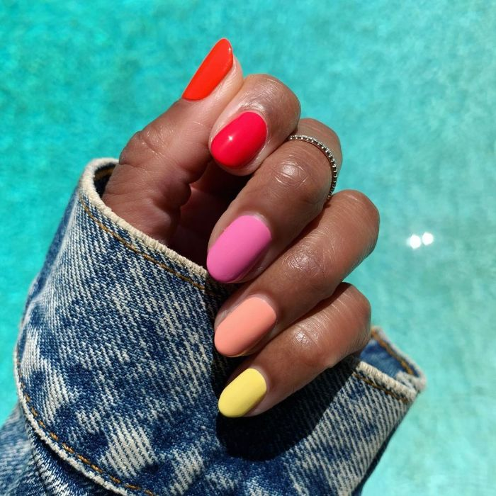 summer nail colors short almond nails each painted in different color red pink purple orange yellow