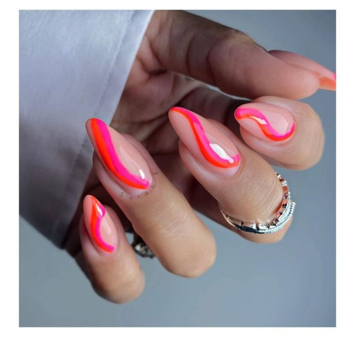 summer nail designs 2021 nude nail polish with pink and red lines on long stiletto nails