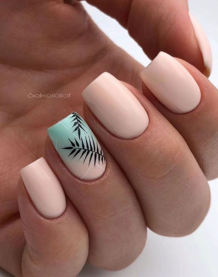 summer nail ideas short squoval nails with nude nail polish blue nude ombre palm leaves on ring finger