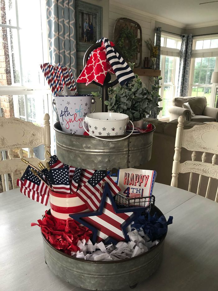 table decorations metal buckets filled with candy american flags 4th of july decorations red white and blue ribbons