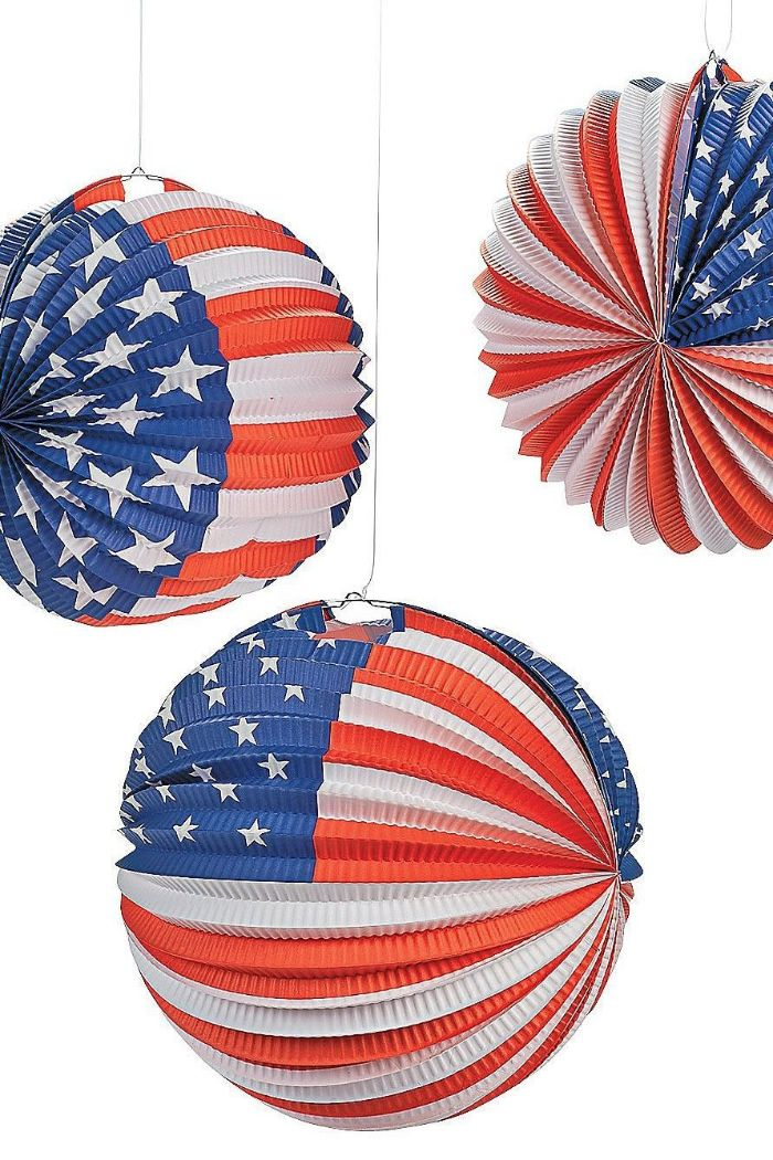 three balloon lanterns painted as the american flag 4th of july crafts white background