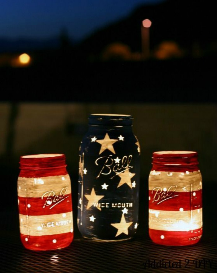 three mason jars for candle holders 4th of july outdoor decorations stars and stripes