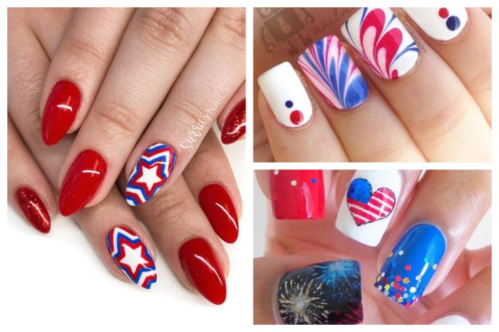 three side by side photos of red white and blue nails heart shaped american flag stars