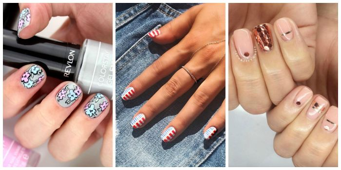 three side by side photos of short squoval nails with different summer nail colors fourth of july manicure