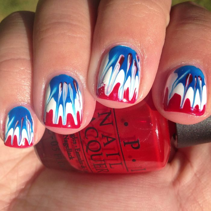 tie dye effect on short square nails patriotic nails done with red white and blue nail polish