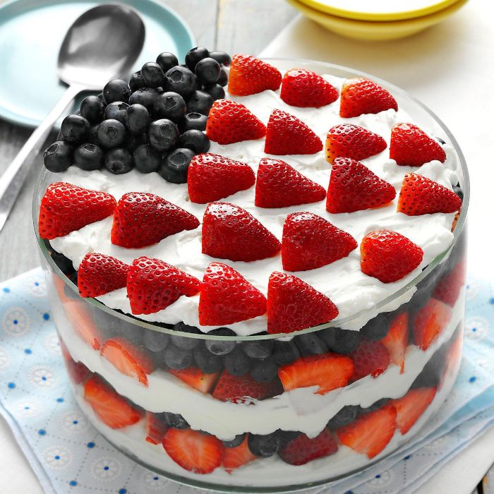 trifle with strawberries blueberries cream cheese layers fourth of july desserts decorated as the american flag