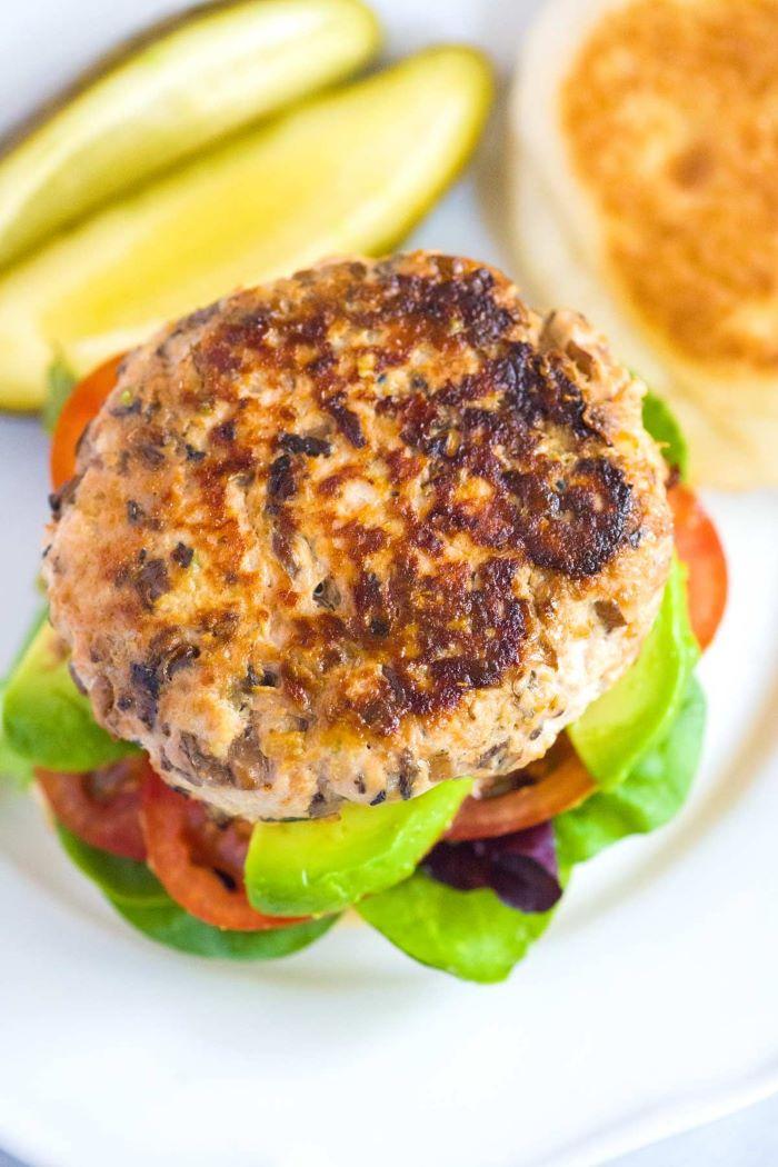 turkey patty burger patty recipe with avocado tomatoes lettuce pickles