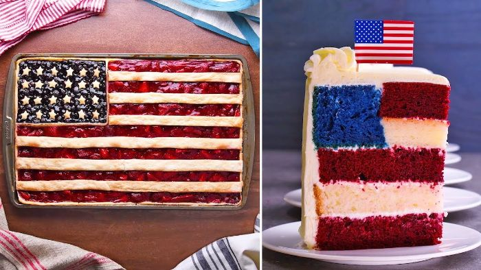 two side by side photos 4th of july food ideas american flag cake and strawberry pie