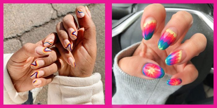 two side by side photos summer nail designs 2021 abstract nails and tie dye nails with almond shape