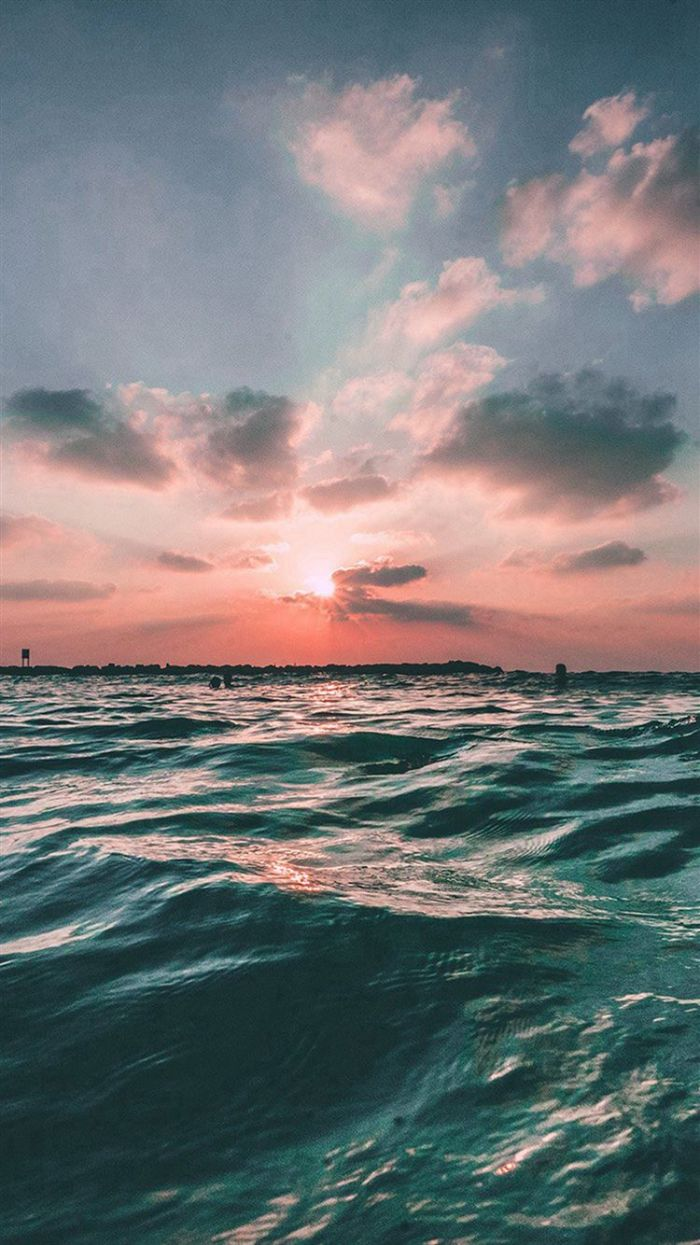 waves photographed at sunset best summer wallpapers orange and blue sky with clouds