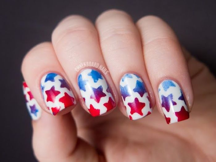 white nail polish red white and blue nail designs stars in red blue ombre