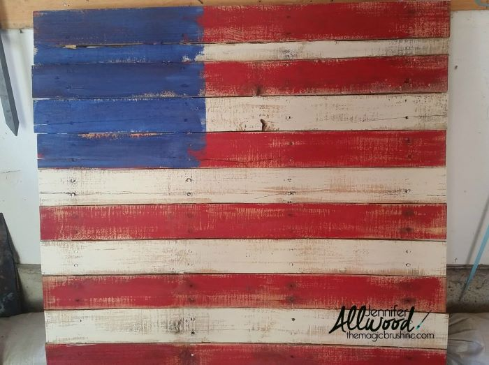 wooden pallet painted in red white and blue 4th of july outdoor decorations step by step diy tutorial