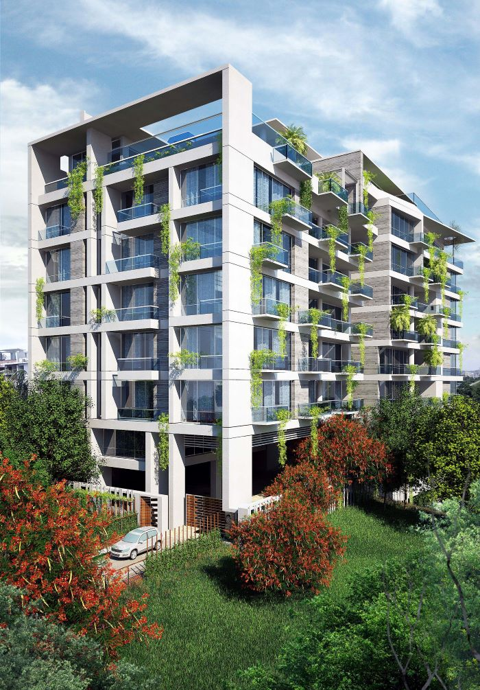 3d rendering on building with trees in park around it reality capture
