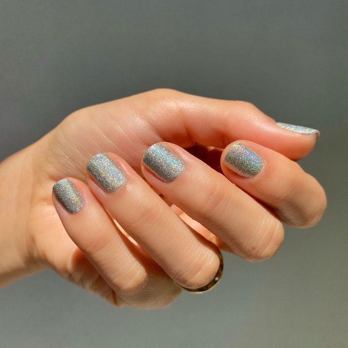 acrylic nail designs chromatic silver glitter nails polish on very short square nails