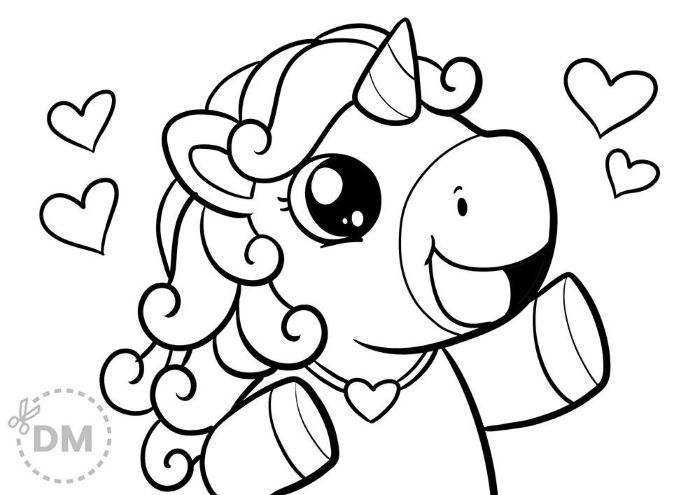 baby unicorn surrounded by hearts creative coloring pages in black and white