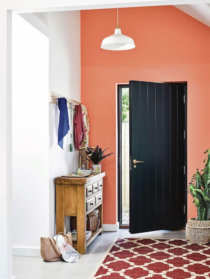 black door entryway design ideas orange accent wall wooden cupboard hanger above it